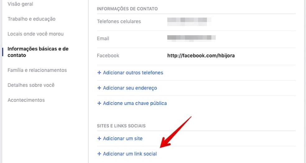 Add links to social networks Photo: Reproduo / Helito Beggiora