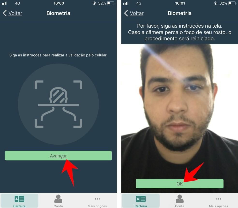 CNH Digital app makes facial biometrics to confirm the document's authenticity Photo: Reproduo / Rodrigo Fernandes