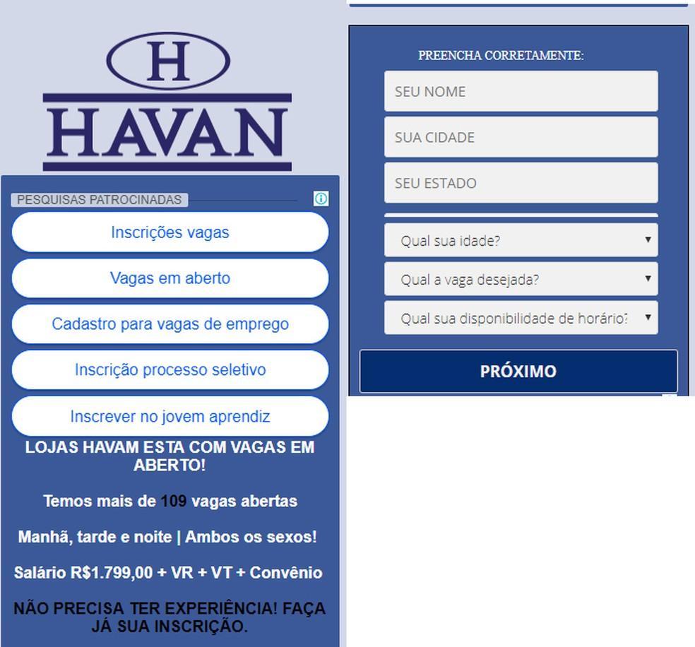 Havan fake job site Photo: Reproduction / PSafe