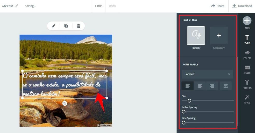 Adobe Spark has text formatting tools Photo: Reproduction / Rodrigo Fernandes