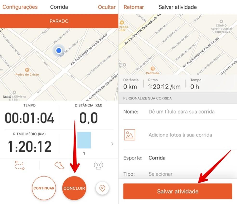 Record physical activity in the Strava app Photo: Reproduction / Helito Beggiora