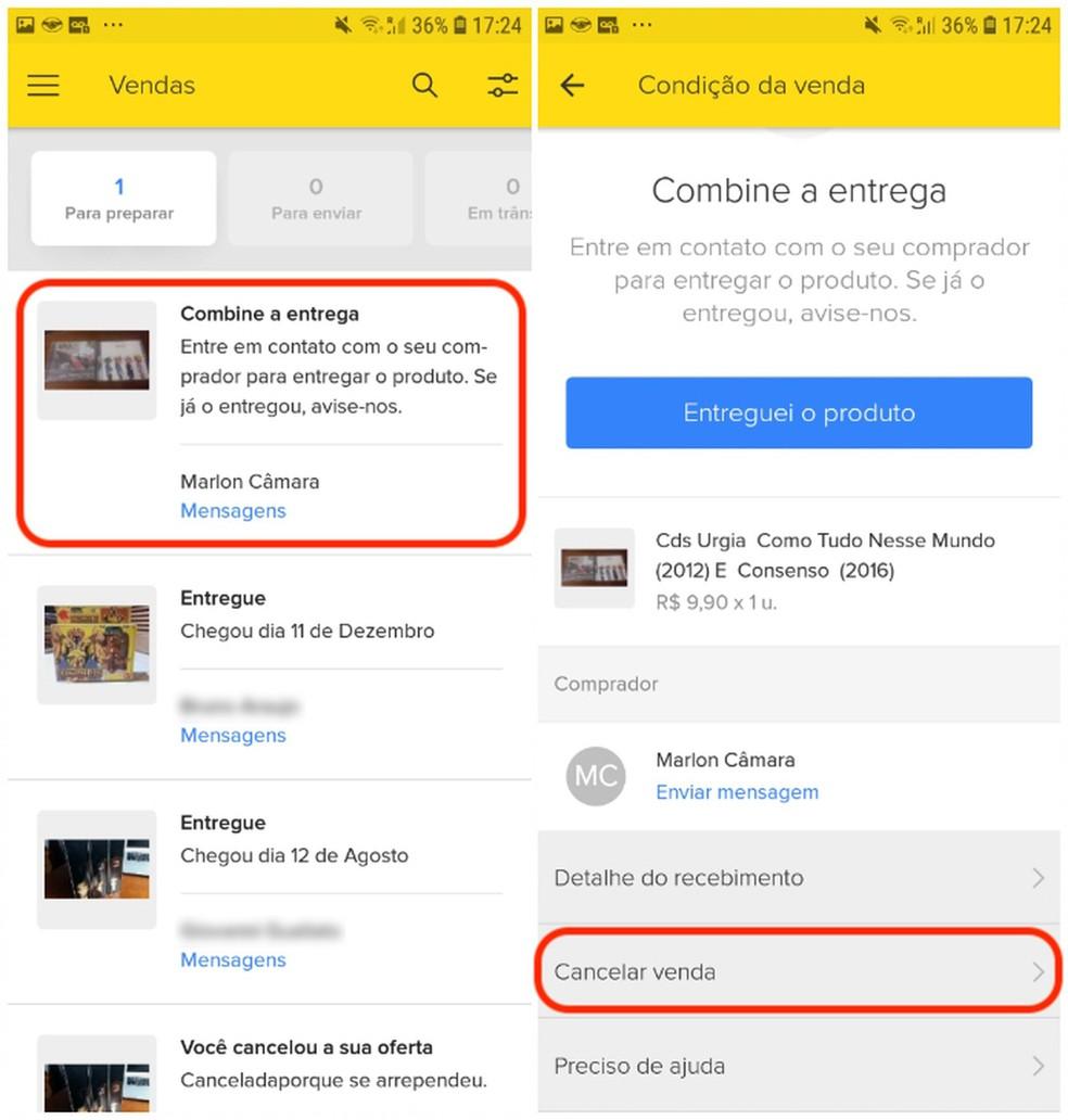 "Select ""Cancel Sale"" in Mercado Livre app Photo: Reproduo / Daniel Dutra"