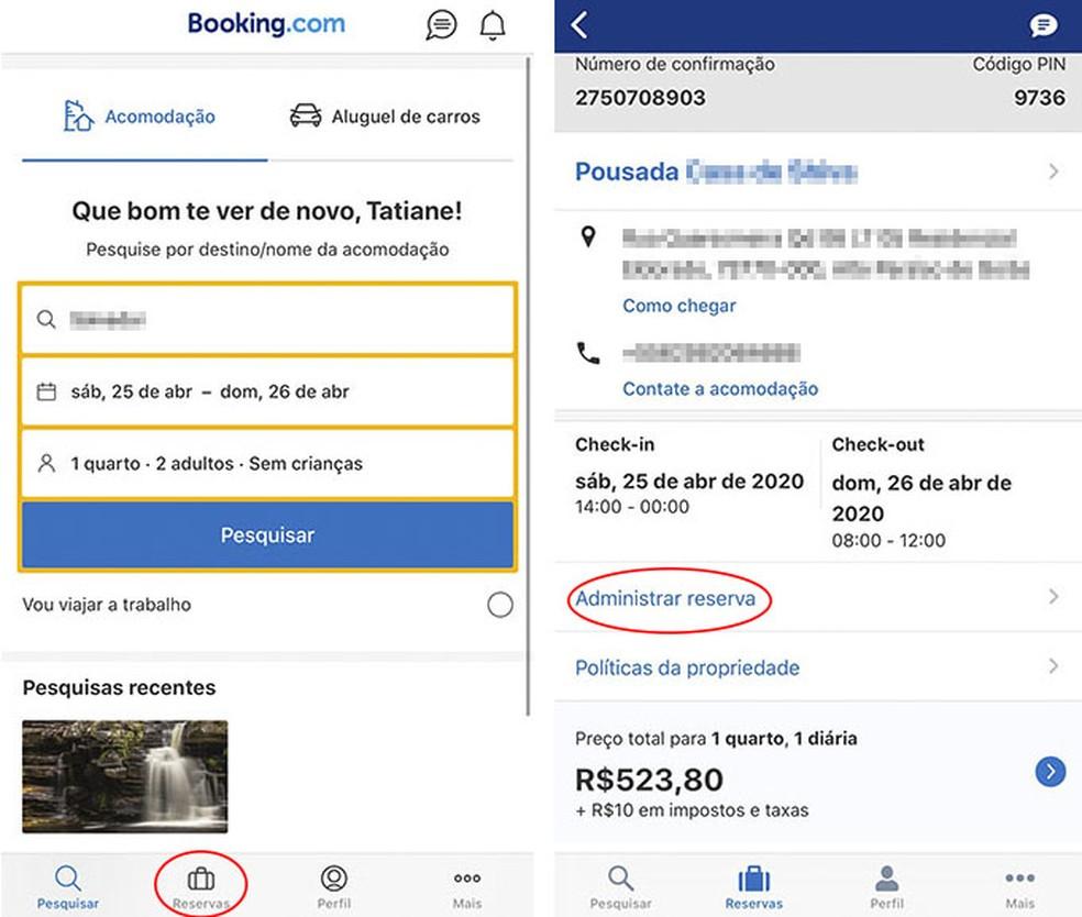 Cancel hotel booking on Booking Photo: Reproduo / Tatiane Mota
