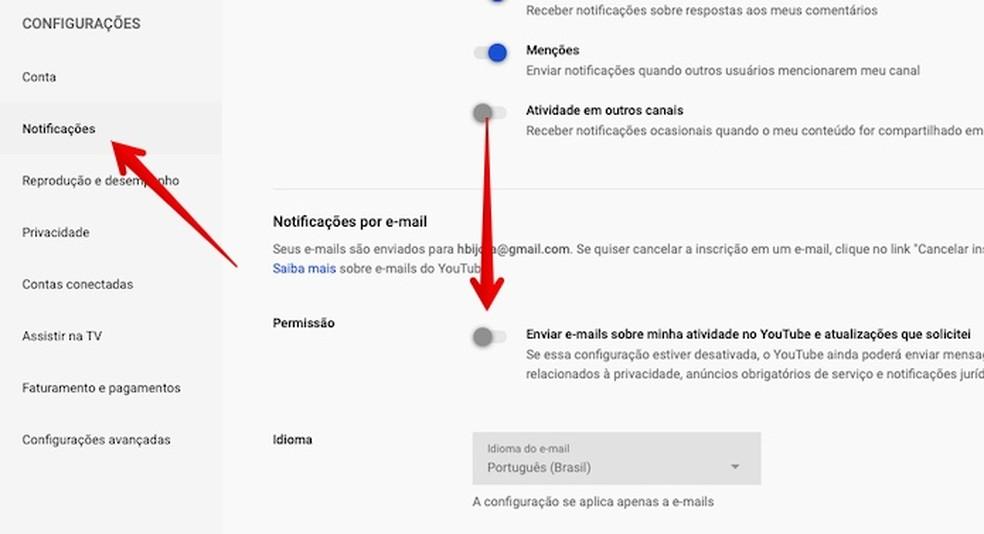 Disabling YouTube emails Photo: Reproduo / Helito Beggiora