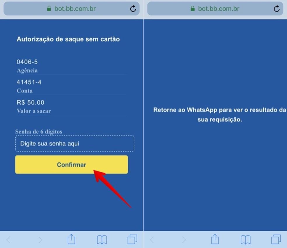 Confirm your card password Photo: Reproduo / Helito Beggiora