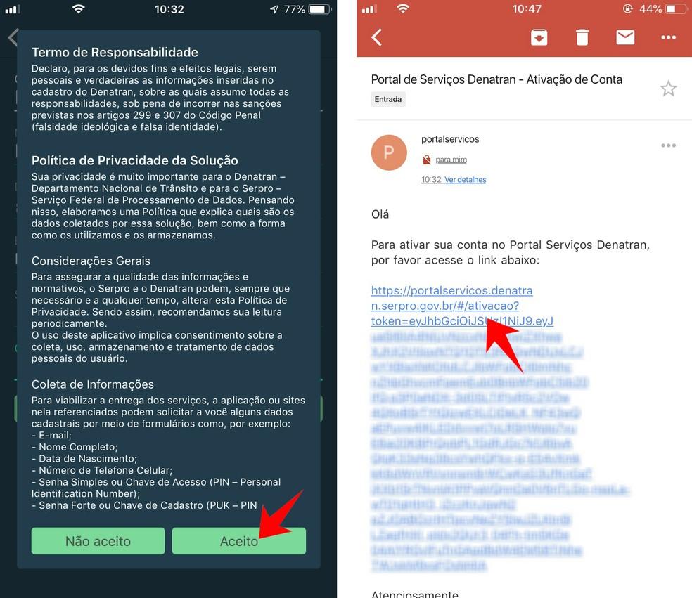Confirm the CNH Digital registration sent by email Photo: Reproduo / Rodrigo Fernandes