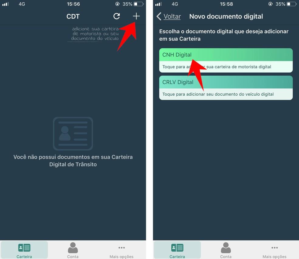 Add a new driver's license to the CNH Digital app Photo: Reproduo / Rodrigo Fernandes