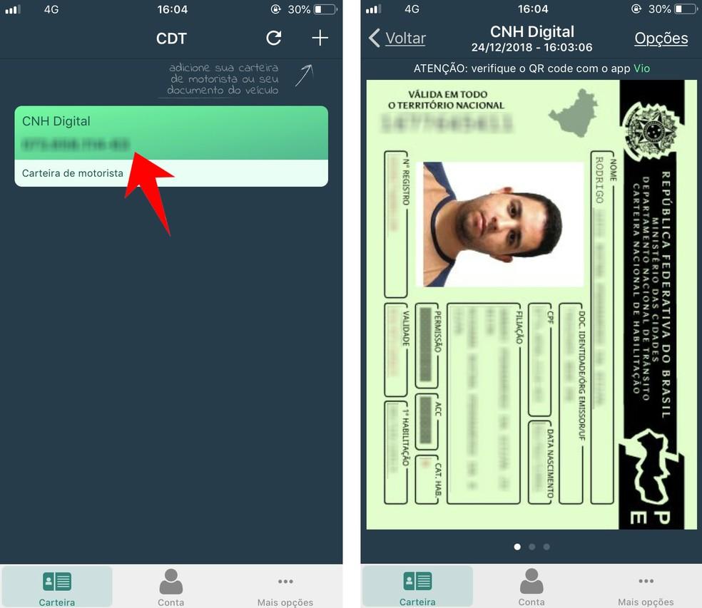 Access a qualification registered in the CNH Digital application Photo: Reproduo / Rodrigo Fernandes