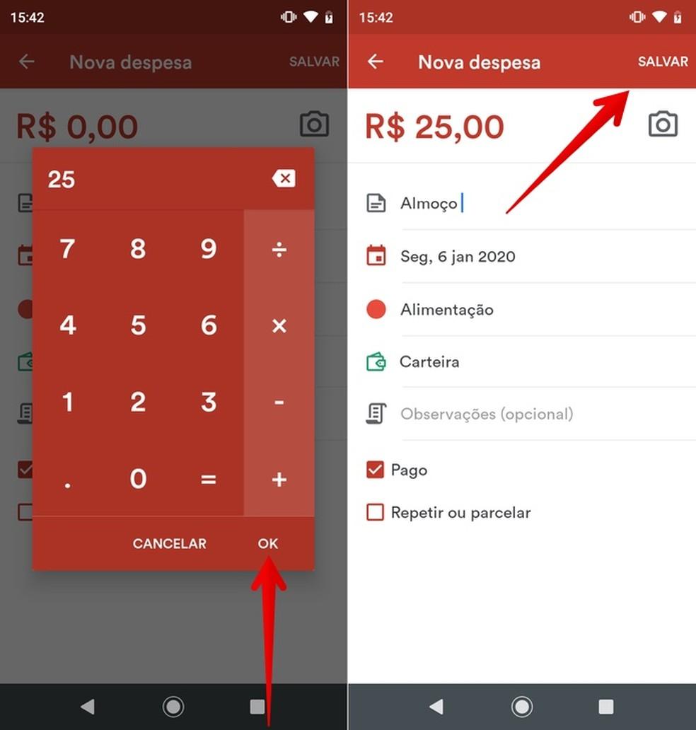 Adding an expense to Fortuno, an application for financial control Photo: Reproduo / Helito Beggiora