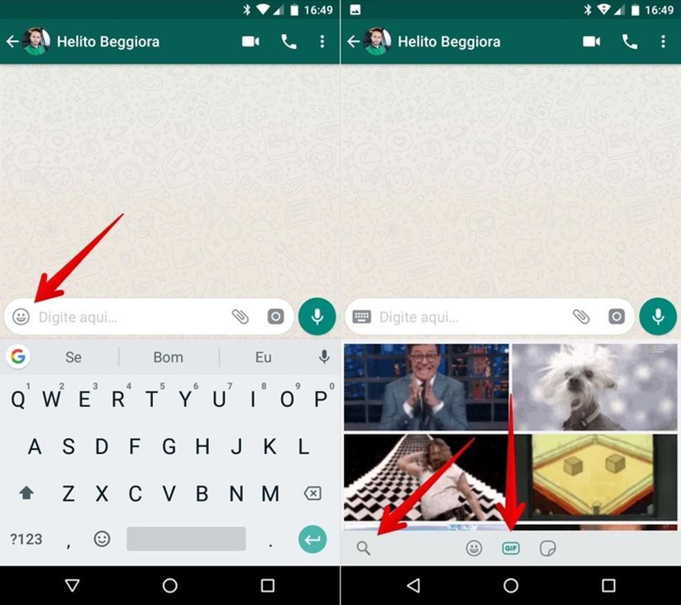 Access WhatsApp GIFs search by cell phone Photo: Reproduo / Helito Beggiora
