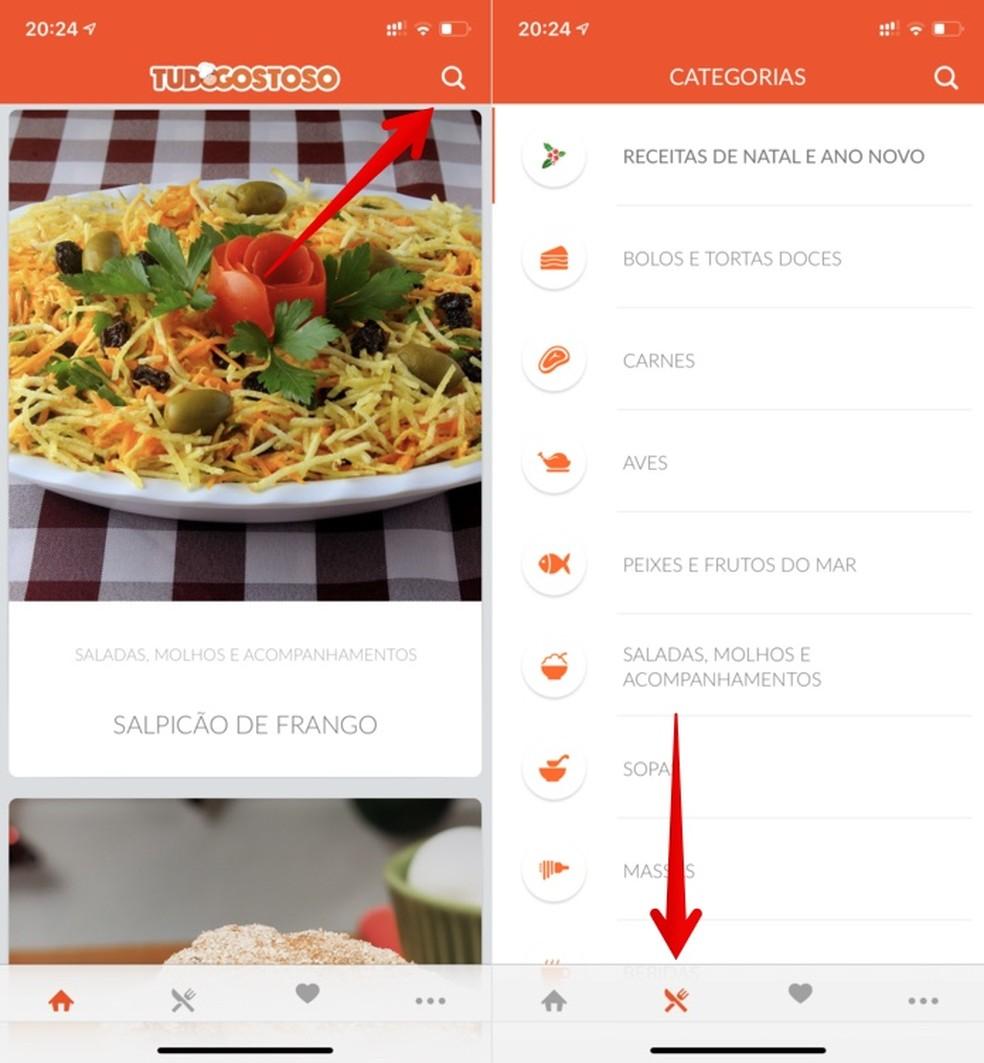 Finding recipes in the Tudo Gostoso recipe app Photo: Reproduo / Helito Beggiora