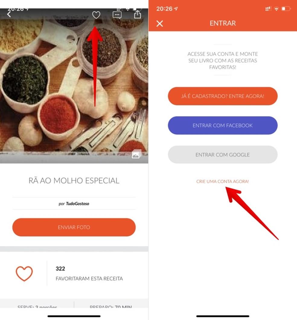 Adding recipes to favorites in the Tudo Gostoso app Photo: Reproduo / Helito Beggiora