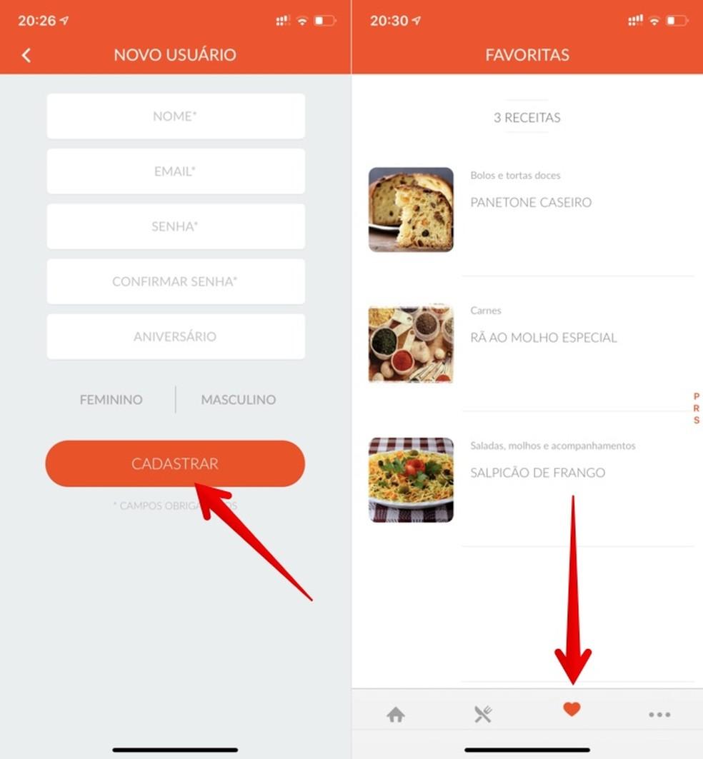Creating account in the Tudo Gostoso recipe app Photo: Reproduo / Helito Beggiora