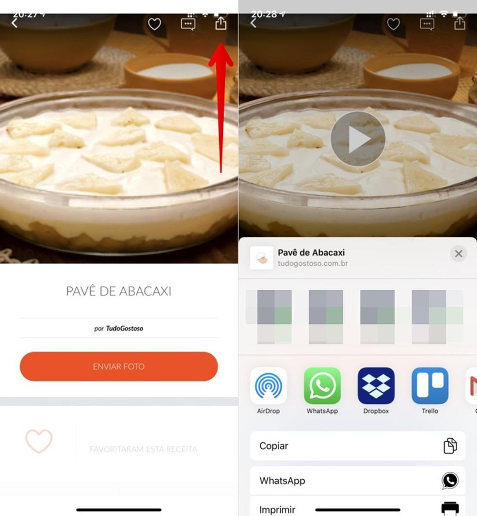 Sharing recipes in the Tudo Gostoso recipe app Photo: Reproduo / Helito Beggiora