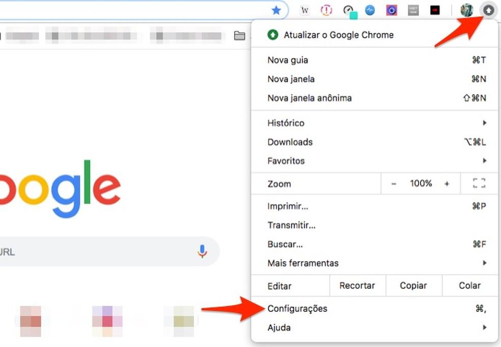 When accessing Chrome settings on a Mac OS computer Photo: Reprodução / Marvin Costa