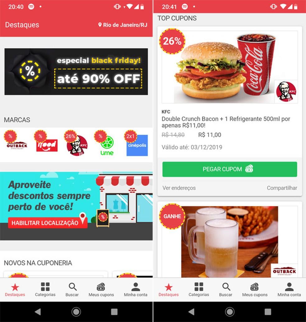 Cuponeria offers a catalog of discount coupons Photo: Reproduo / Pedro Cardoso