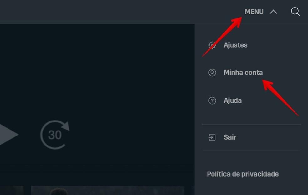 Access your account settings Photo: Reproduo / Helito Beggiora