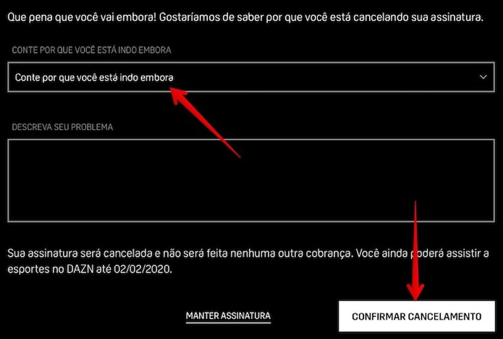 Confirm subscription cancellation Foto: Reproduo / Helito Beggiora