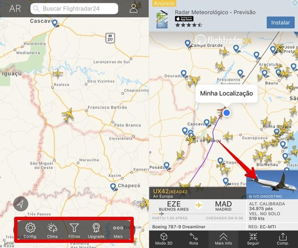 View information about a flight in the Flightradar24 app Photo: Reproduo / Helito Beggiora