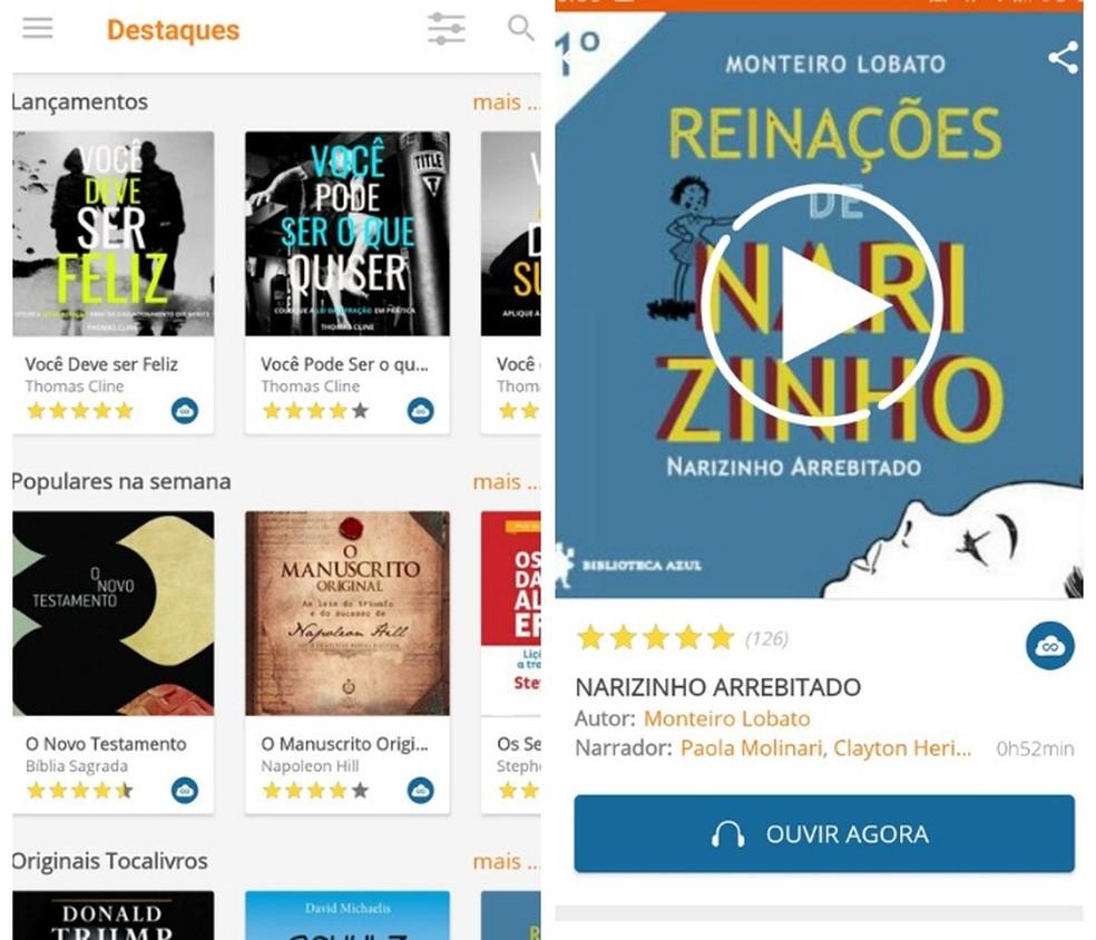 You can listen to free audiobooks in Portuguese through Tocalivros Audiobooks Photo: Reproduo / Graziela Silva