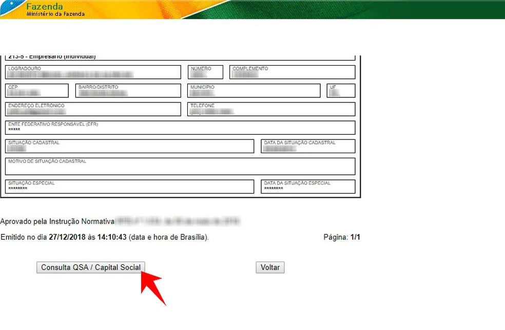 Internal Revenue Service website also displays a Membership Chart and Social Capital of a CNPJ CNPJ: Reproduo / Rodrigo Fernandes