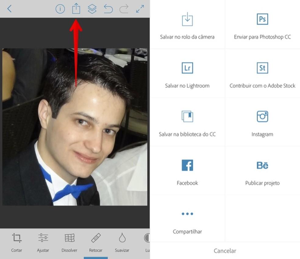 Export the edited image with Adobe's Photoshop Fix app Photo: Reproduo / Helito Beggiora