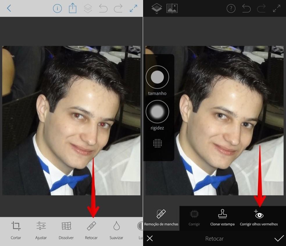 Correct red eye in the Photoshop Fix app Photo: Reproduo / Helito Beggiora