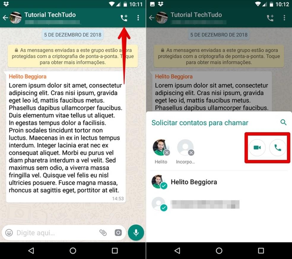 Starting a WhatsApp group call Photo: Reproduo / Helito Beggiora