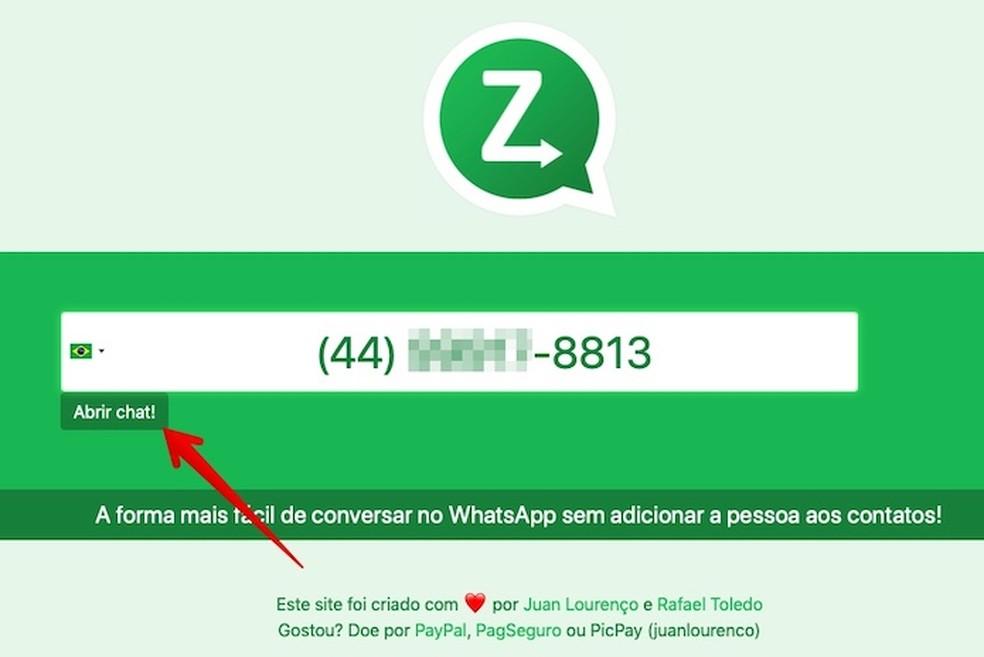 Start a conversation with a stranger on WhatsApp Web through ZapDireto Photo: Reproduo / Helito Beggiora