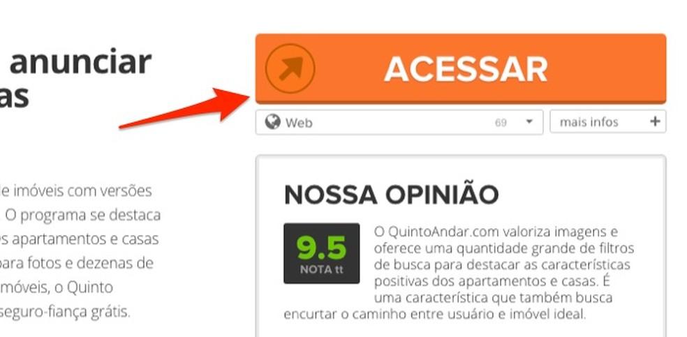 When accessing the Quinto Andar website through TechTudo Downloads Photo: Reproduo / Marvin Costa