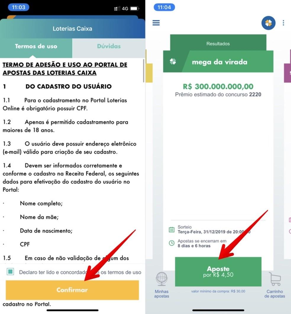 Accept the terms of use of the Loterias Caixa app and tap to play Mega da Virada Photo: Reproduo / Helito Beggiora