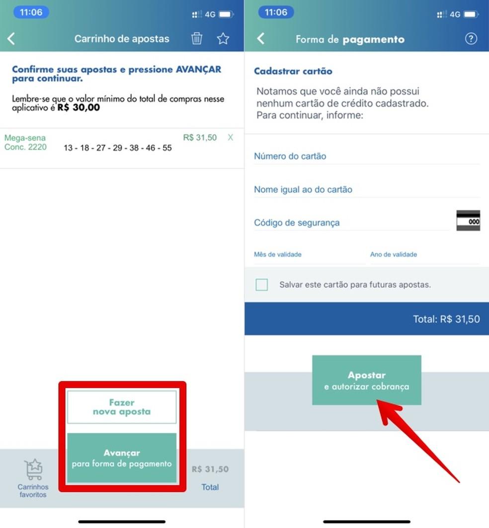 Enter the card details for payment of the bet on the Mega Sena da Virada 2019/2020 Photo: Reproduo / Helito Beggiora