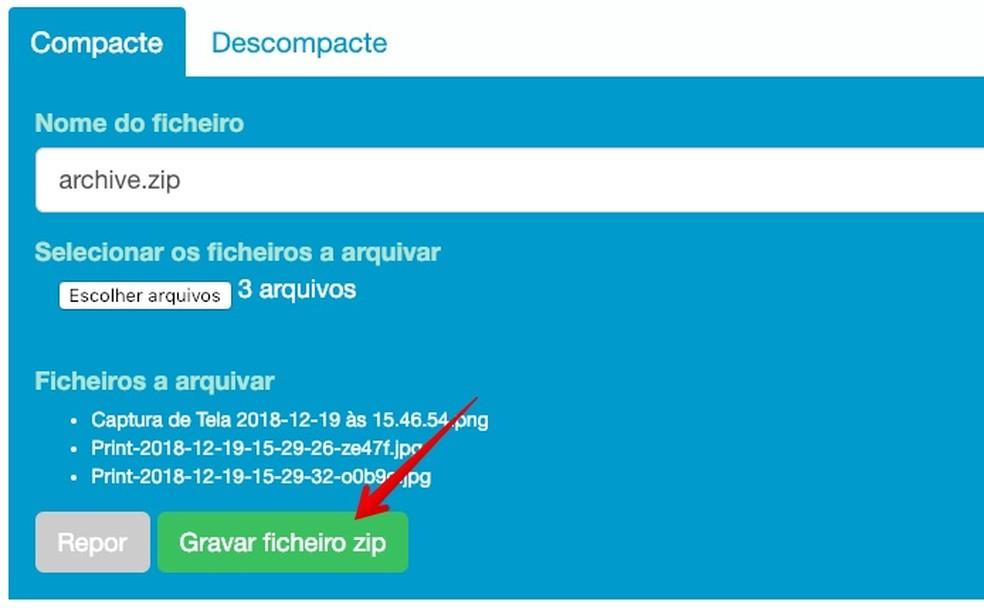 Saving compressed file Photo: Reproduo / Helito Beggiora