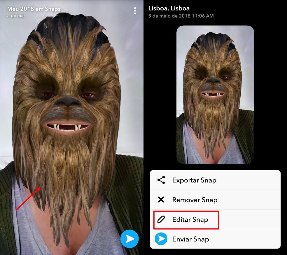 Press the snap to access the Snapchat menu Photo: Reproduo / Taysa Coelho