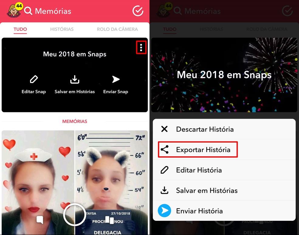 """Tap on the option """"Export History"""" Photo: Reproduo / Taysa Coelho"""