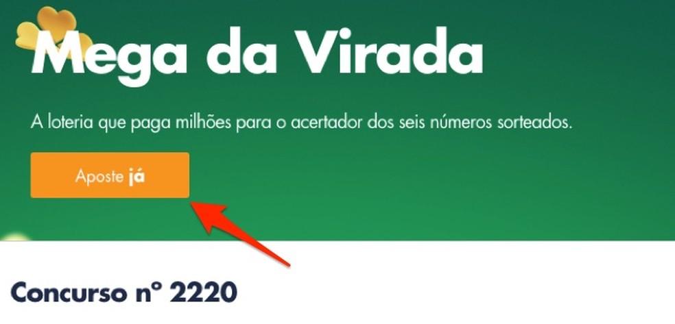 By accessing the Megasena da Virada betting page on the Loterias da Caixa website Photo: Reprdouo / Marvin Costa