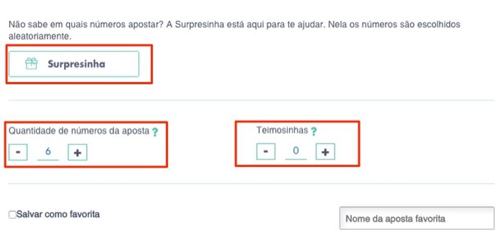 Control actions for a bet on the Loterias da Caixa website Photo: Reproduo / Marvin Costa