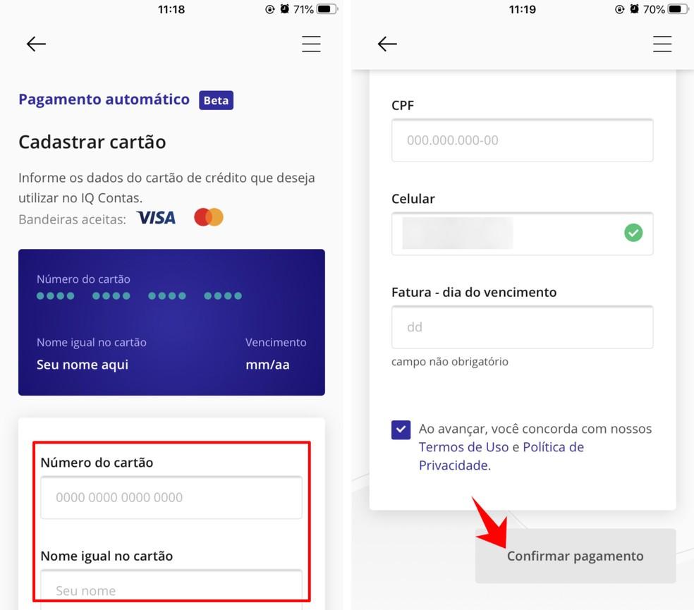 Register a credit card to pay bills and bills through IQ Contas Photo: Reproduo / Rodrigo Fernandes