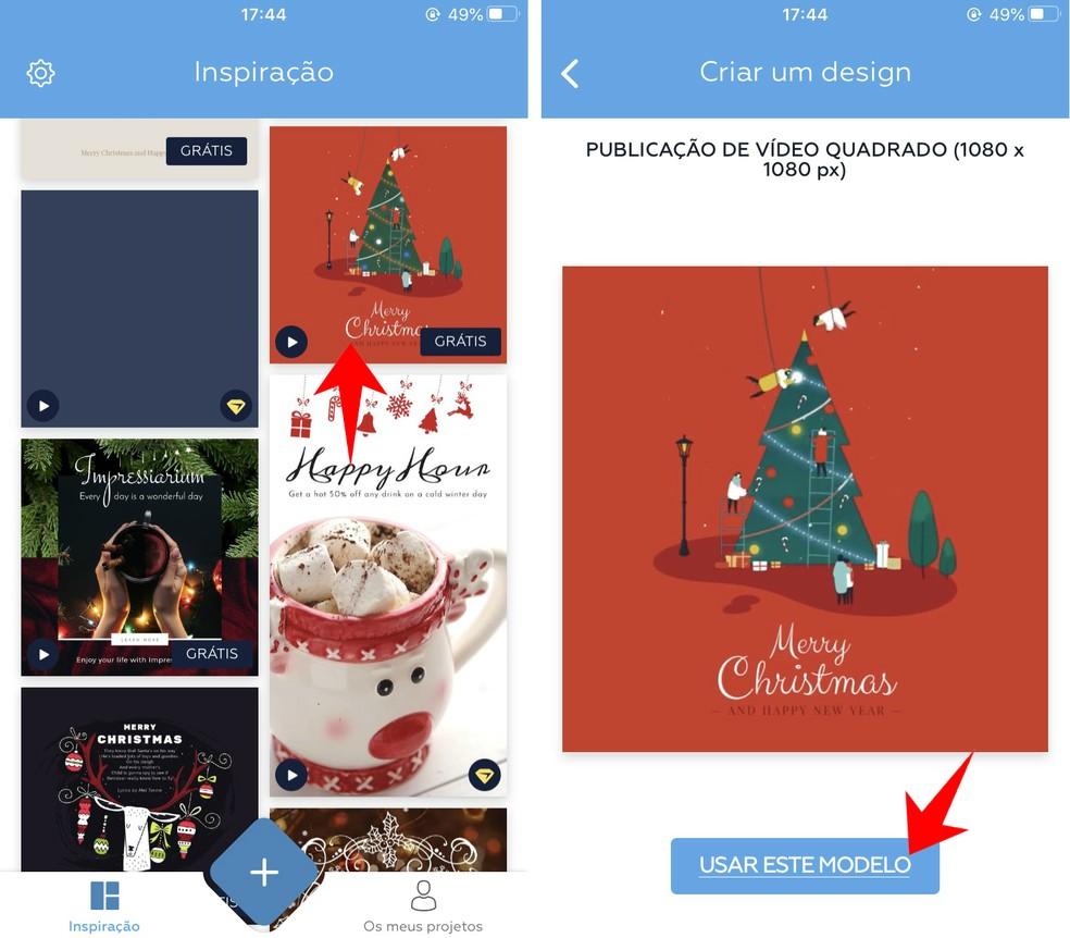 Searching for a Christmas card to edit in Crello Photo: Reproduo / Rodrigo Fernandes