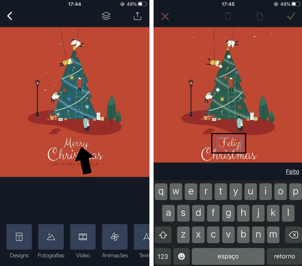 Editing texts from a Christmas card in Crello Photo: Reproduo / Rodrigo Fernandes