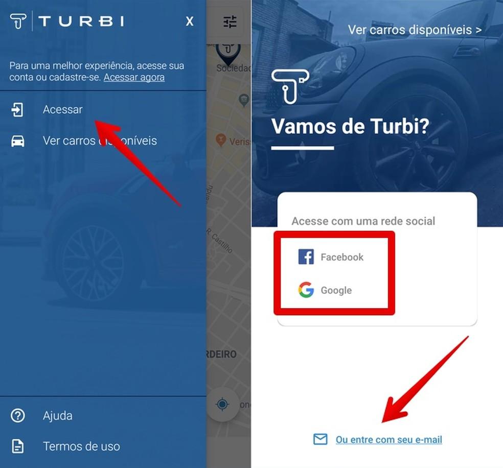 Creating registration on the Turbi app Photo: Reproduo / Helito Beggiora