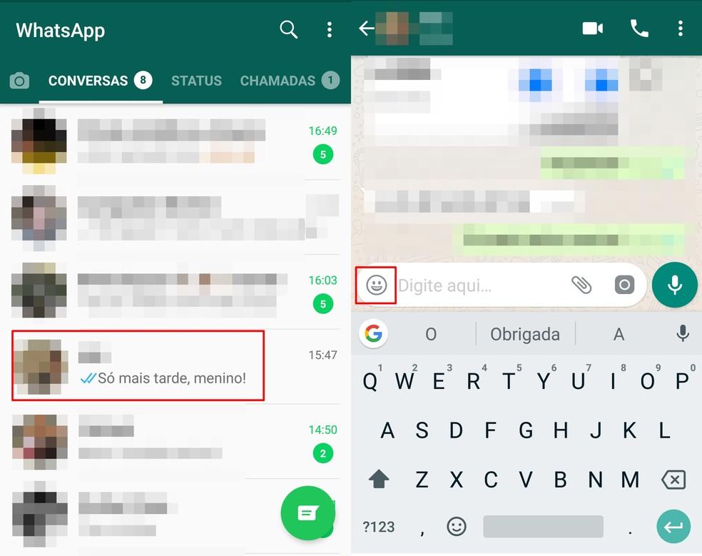 Tap on the WhatsApp face icon Photo: Reproduo / Taysa Coelho