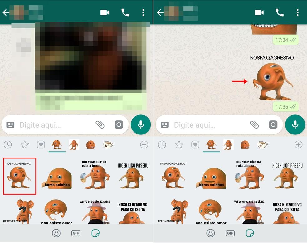 Choose the Laranjo sticker and click on it to send it on WhatsApp chat Photo: Reproduo / Taysa Coelho