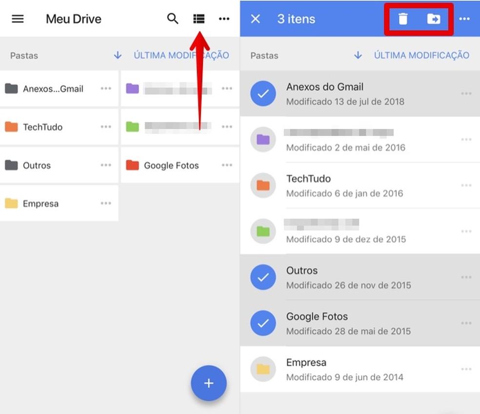 Change the view when selecting files in Google Drive Photo: Reproduo / Helito Beggiora