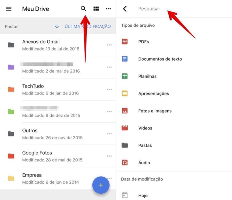 Use the Google Drive search tool Photo: Reproduo / Helito Beggiora