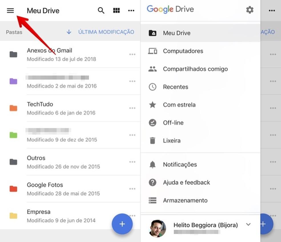 Access the Google Drive menu Photo: Reproduo / Helito Beggiora