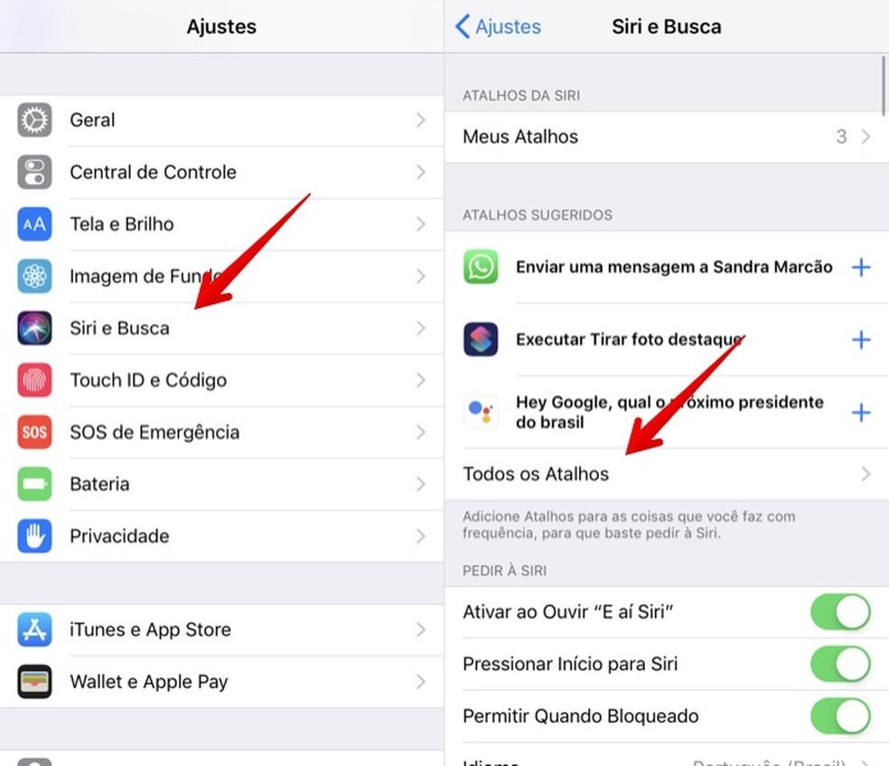 Access Siri settings Photo: Reproduction / Helito Beggiora