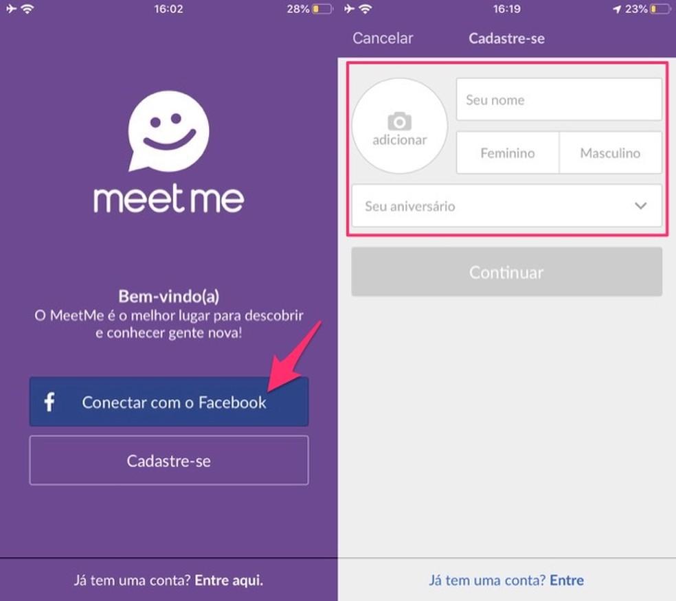 MeetMe registration screen Photo: Reproduo / Marvin Costa