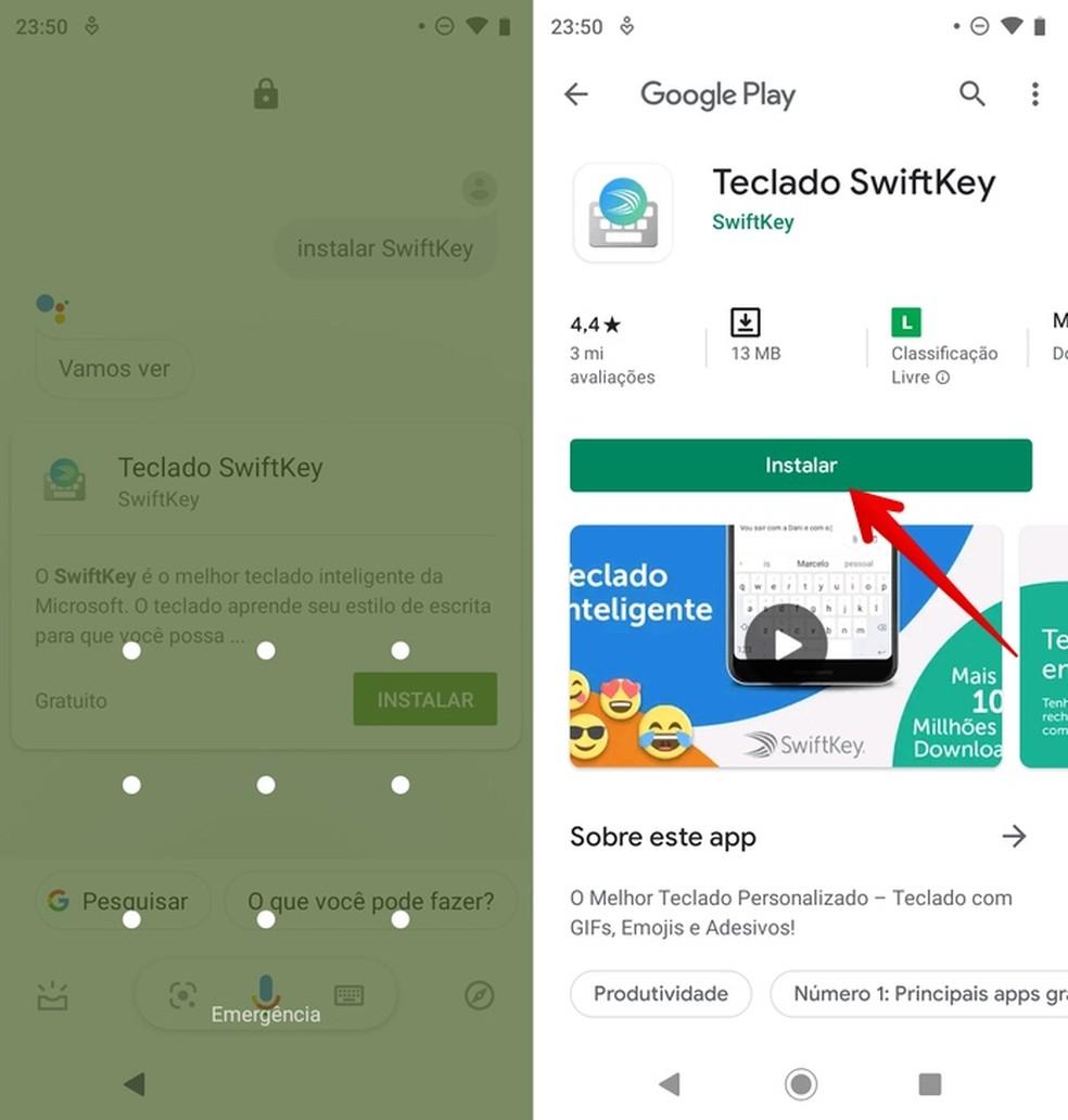 Installing app through Google Assistant Photo: Reproduo / Helito Beggiora