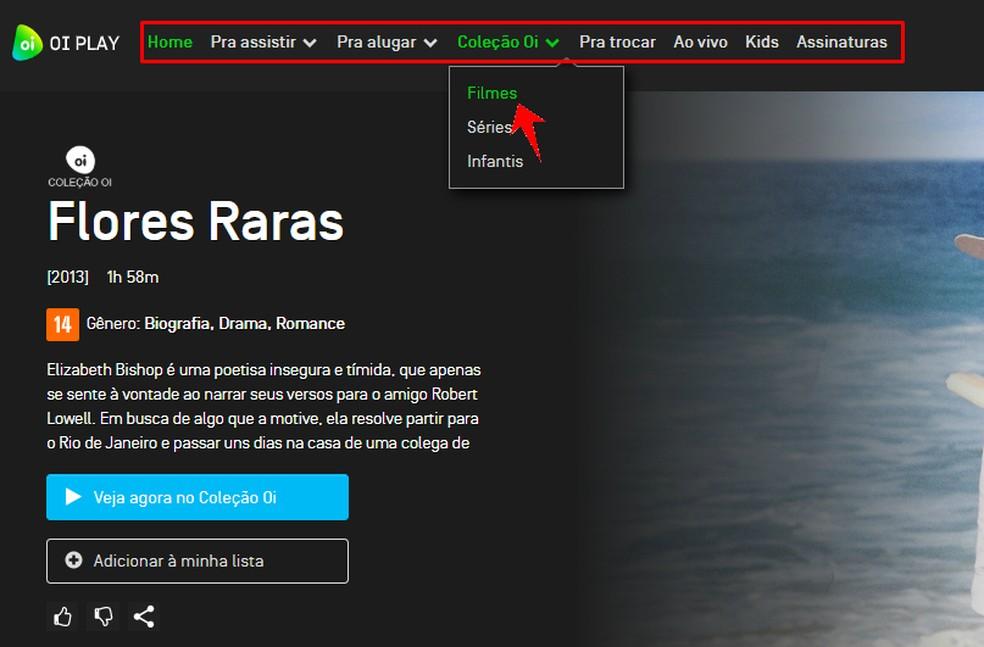 Oi Play menu allows you to navigate between movies and series Photo: Reproduo / Rodrigo Fernandes